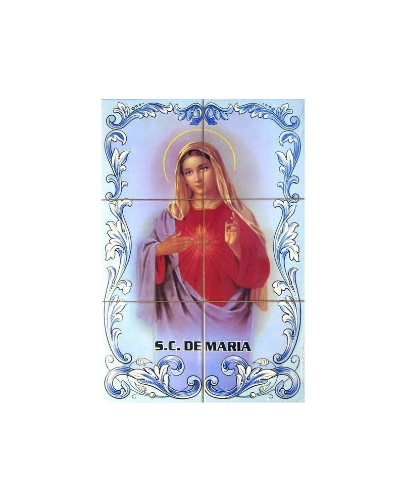 Tiles with an image of the Sacred Heart of Mary