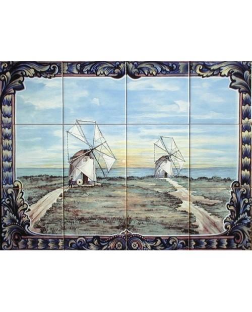 Azulejos com imagem de moinhos