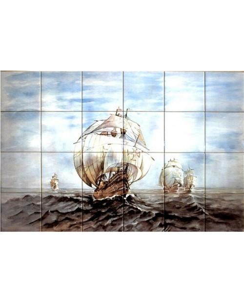 Azulejos com imagem de caravela