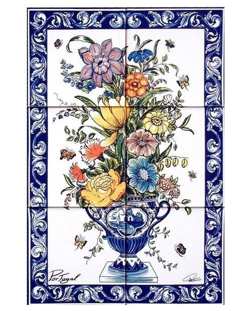Carreaux avec image de Vase de fleurs